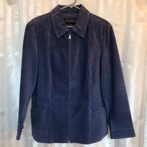 Bernardo for Nordstrom blue leather zip up jacket